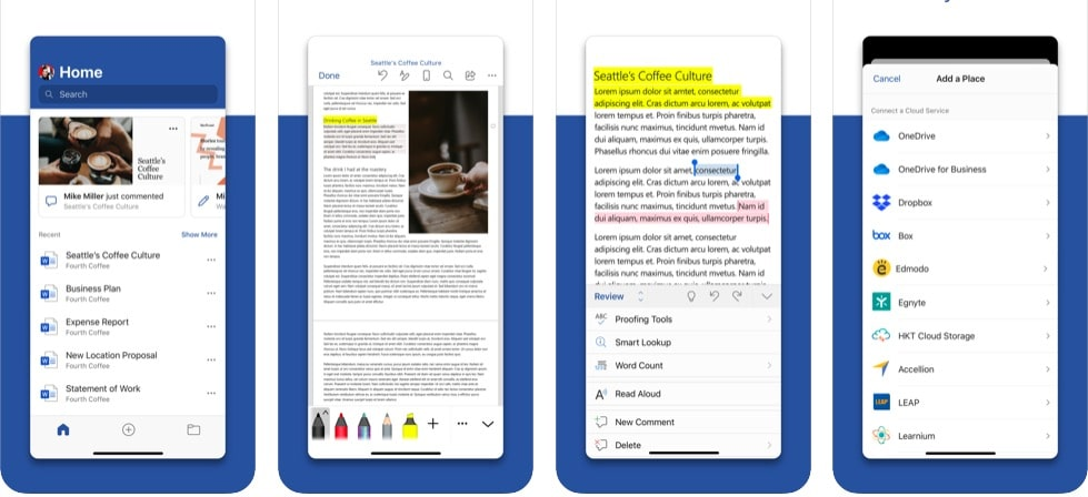 Android ve iOS Mobile'da Word