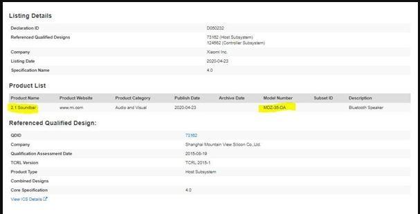 2.1 Bluetooth Soundbar-Zertifizierung. Bluetooth 4.0-Version. Vielleicht die zweite Generation der neuen Soundbar
