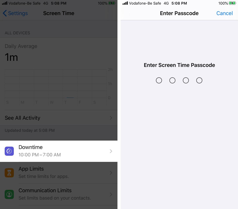 Nhấn Dừng thời gian và nhập mật khẩu