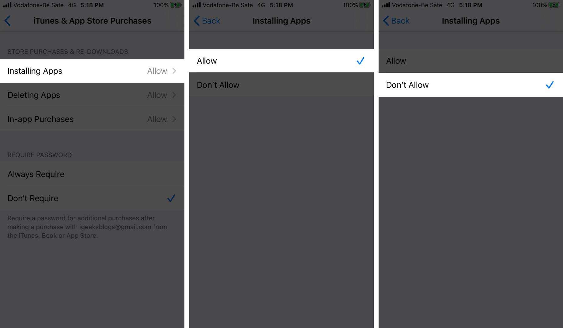 Chọn Không cho phép giới hạn mua ứng dụng trên iPhone