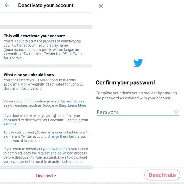 Desactivar cuentas xã hội hóa - Twitter