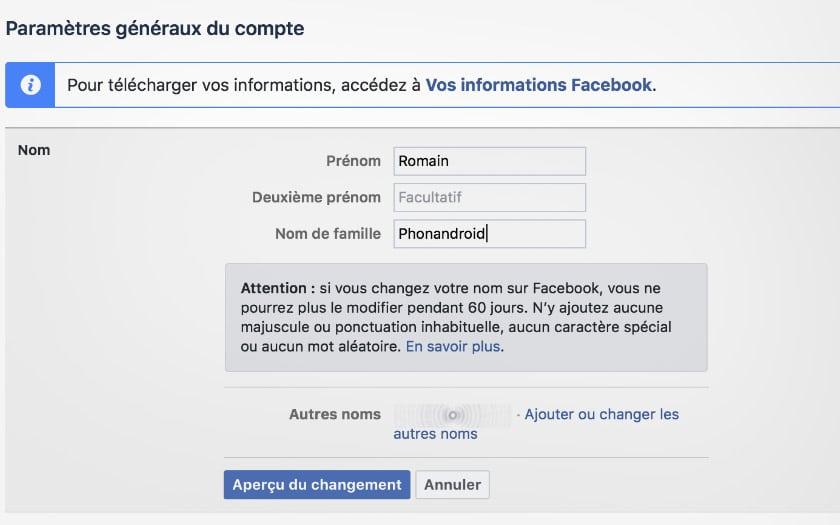 pc facebook adını değiştir