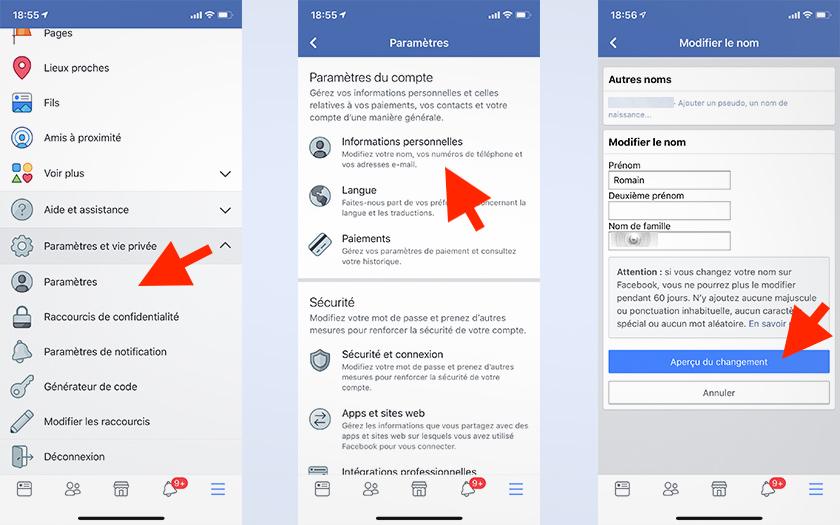 facebook đổi tên ios android