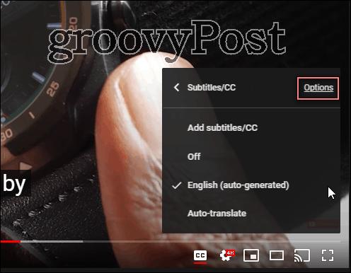 Phông chữ phụ đề Youtube đặt tùy chọn cài đặt
