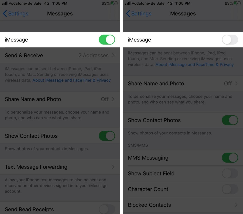 İPhone'da iMessage'ları kapatma