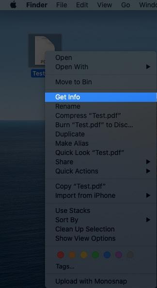 Щелкните правой кнопкой мыши PDF-файл и выберите «Информация».