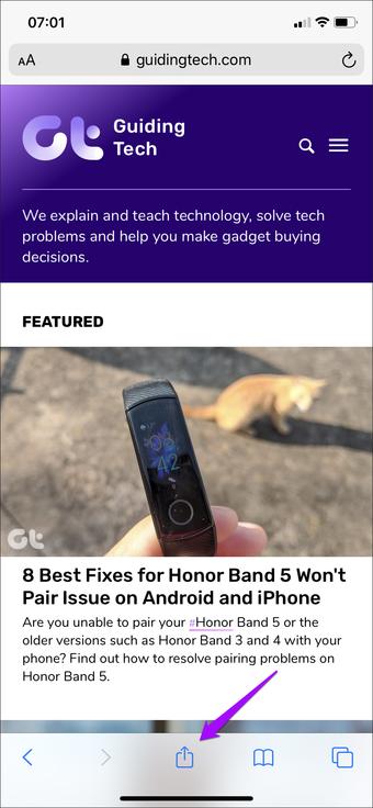 Safari Iphone Saytı Ev ekranına əlavə edin 6