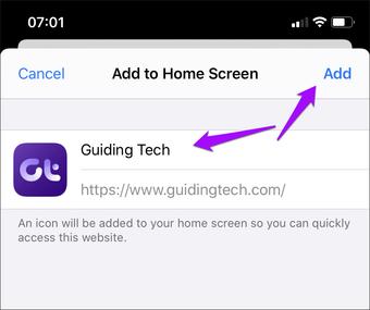 Safari Iphone Saytı Ev ekranına əlavə edin 8