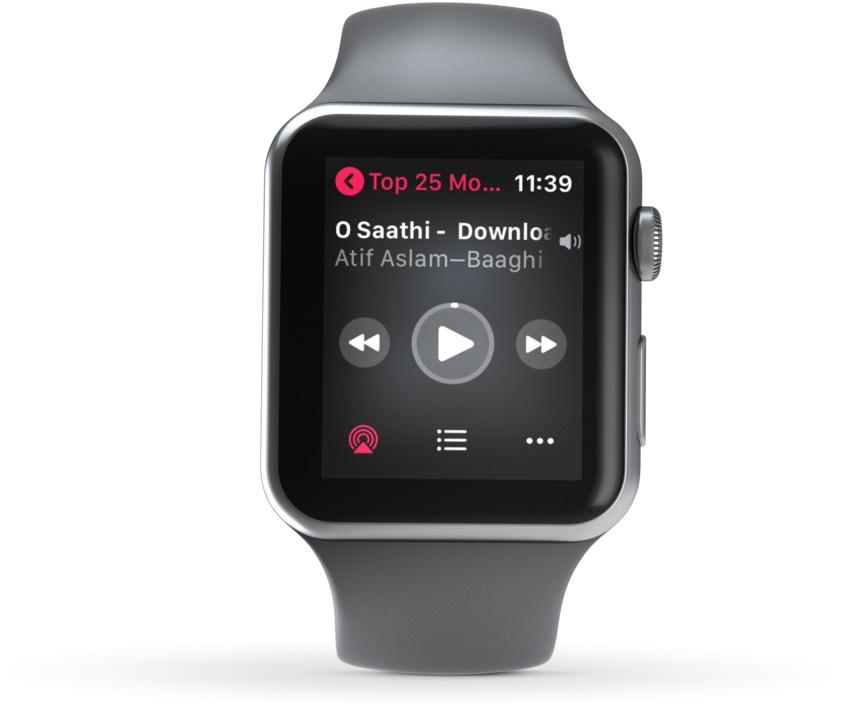 Musiqi çalışı nəzarəti aktivdir Apple Watch