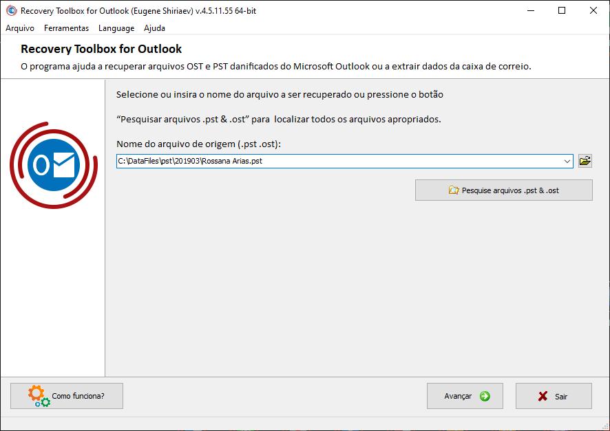 Phần mềm hộp công cụ phục hồi hiển thị nơi lưu trữ tệp pst