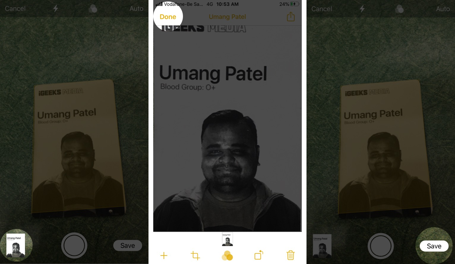 İPhone'daki Not Uygulamasında Taranan Belgelere Filtre Uygulamak için Küçük Resim'e dokunun
