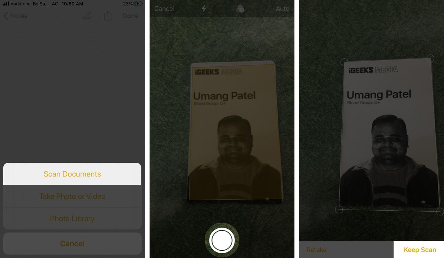 IPhone Qeyd Tətbiqindən istifadə edərək sənədləri tarayın