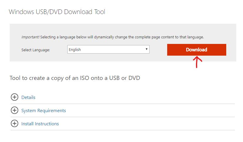 Sayfayı indir Windows USB / DVD İndirme Aracı