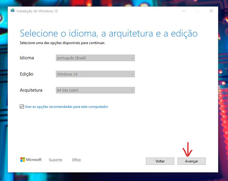 Ayarların seçildiği pencere Windows 10