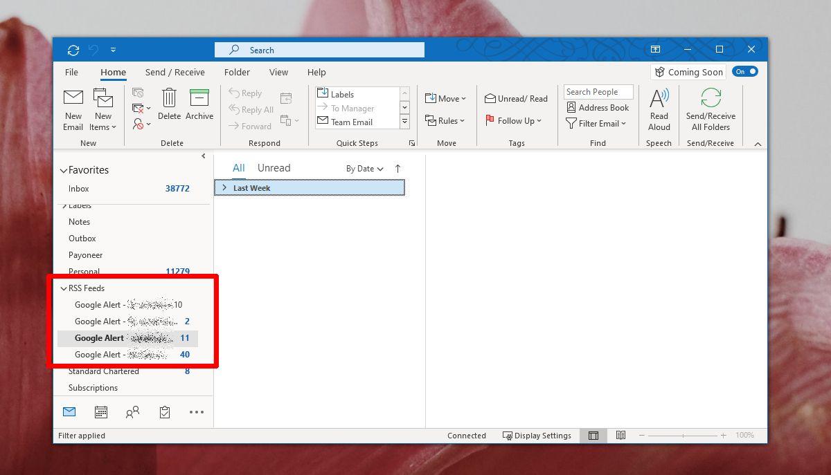 Outlook 365 2Cách thêm nguồn cấp RSS vào