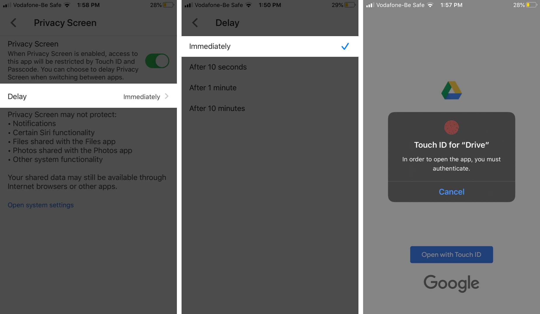 Nhấn Trì hoãn bằng tính năng Màn hình bảo mật trên iPhone của bạn và chọn Khóa Google Drive