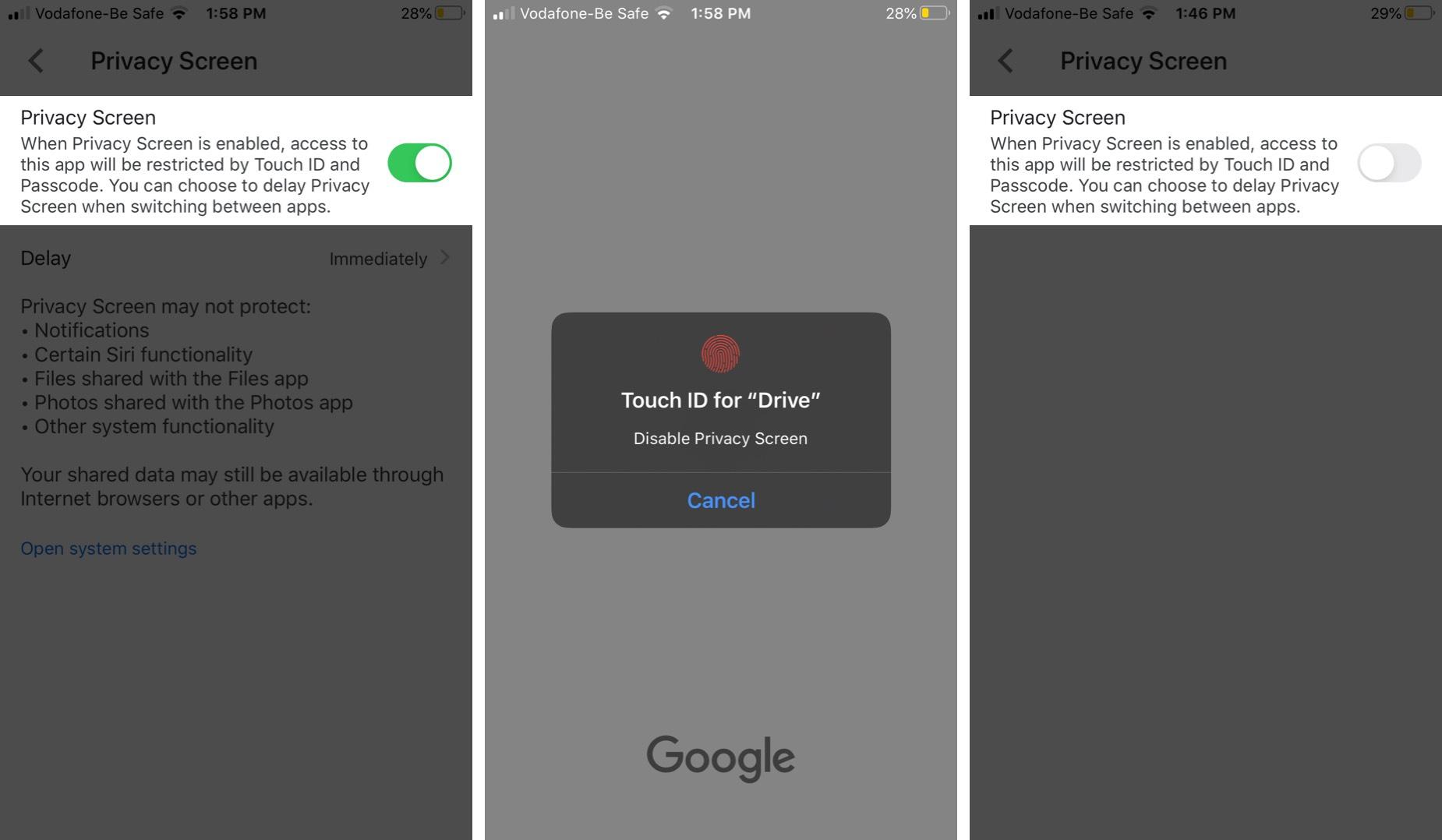 Vô hiệu hóa tính năng bảo mật của Google Drive trên iPhone