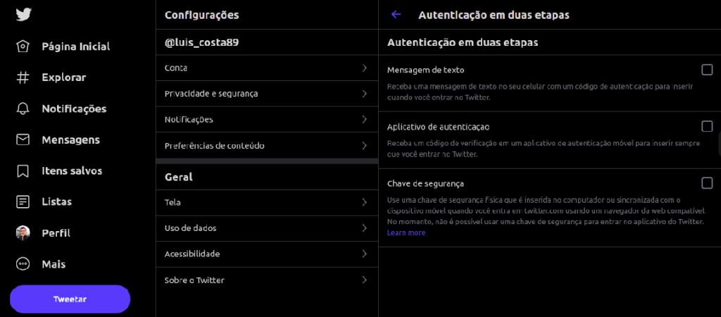 İki addımlı doğrulama seçimləri ekranı