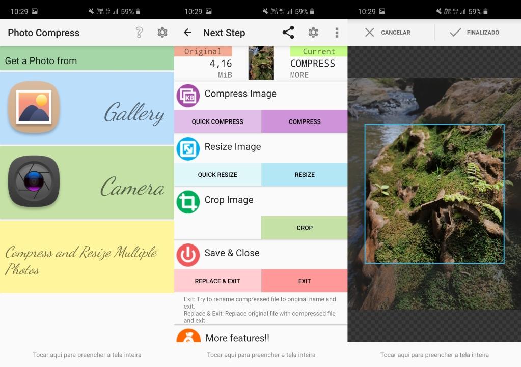 Android için Tam Fotoğraf Sıkıştırma 2.0 ekranı, resimlerinizi seçme, düzenleme ve kaydetme seçeneğini gösterir.