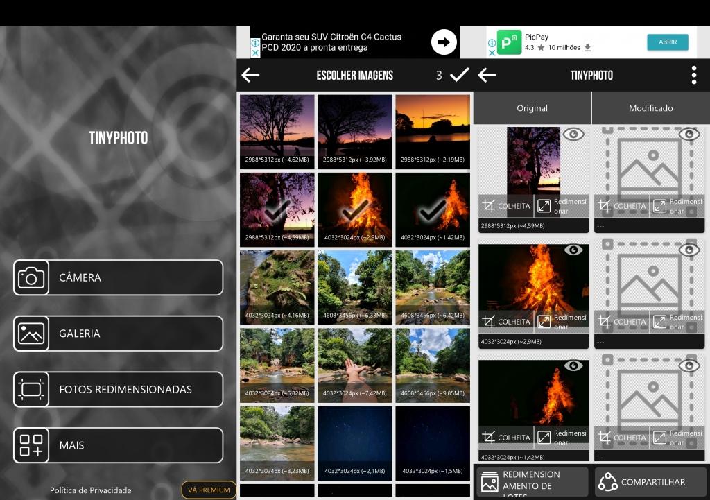 Màn hình TinyPhoto hiển thị lựa chọn và điều trị hình ảnh.