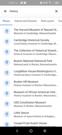 """Existe uma nova interface de pesquisa no Google Earth que mostra o conteúdo em destaque, o histórico de pesquisas e muito mais 5 """"width ="""" 217 """"height ="""" 470 """"loading ="""" preguiçoso"""