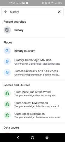 """Existe uma nova interface de pesquisa no Google Earth que mostra o conteúdo em destaque, o histórico de pesquisas e muito mais 4 """"width ="""" 217 """"height ="""" 470 """"loading ="""" preguiçoso"""