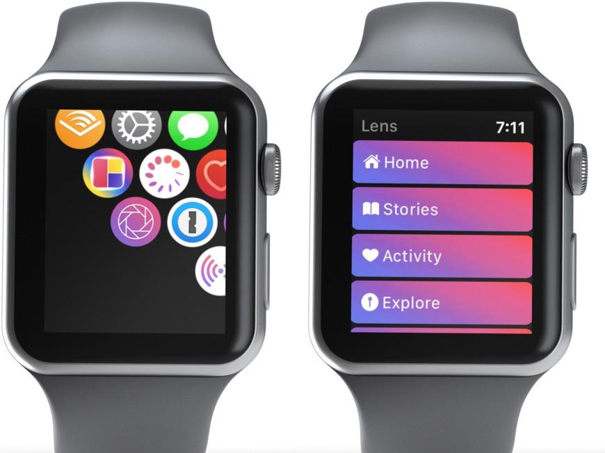 Ketik pada Aplikasi Lens dan Pilih Pilihan Pilihan dari Menu dihidupkan Apple Watch