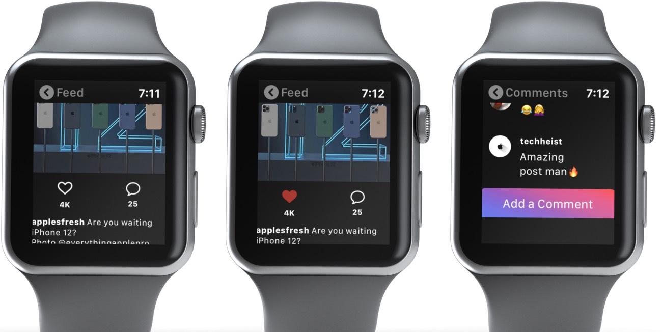 Ketik Kirim di Instagram Umpan untuk Menyukainya atau Tambah Komen Apple Watch