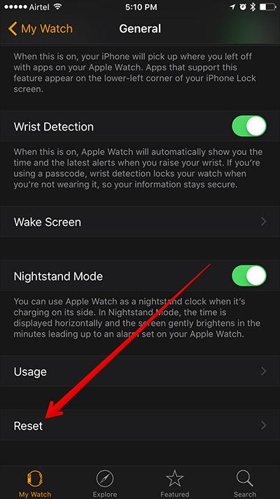 Nhấn vào Đặt lại đăng nhập Apple Watch Ứng dụng trên iPhone