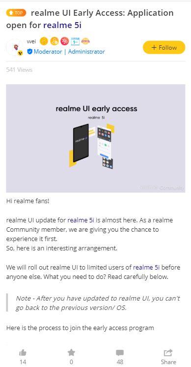 Realme Beta Beta 5i Android 10 (Realme UI)