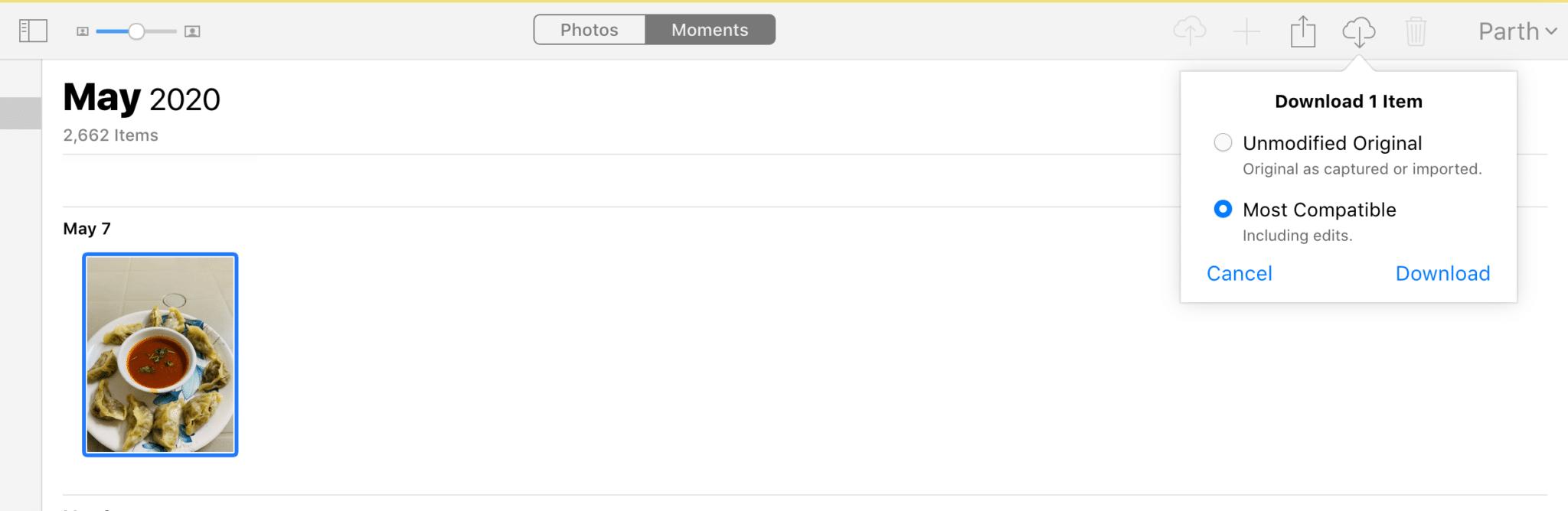 Скачать фотографии iCloud