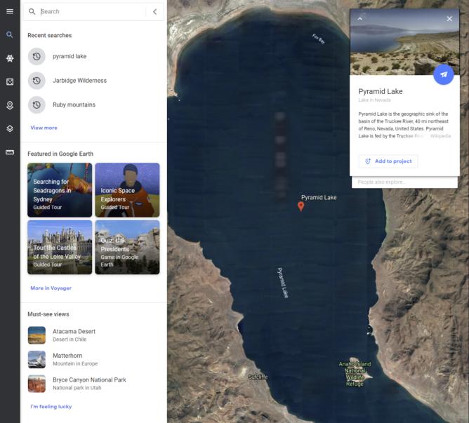 Uma nova interface de pesquisa inclui conteúdo em destaque, histórico de pesquisas e muito mais no Google Earth