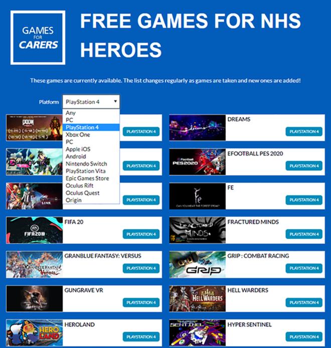 Sáng kiến trò chơi dành cho người chăm sóc, nhân viên NHS cung cấp các trò chơi miễn phí về cách tải chúng 1