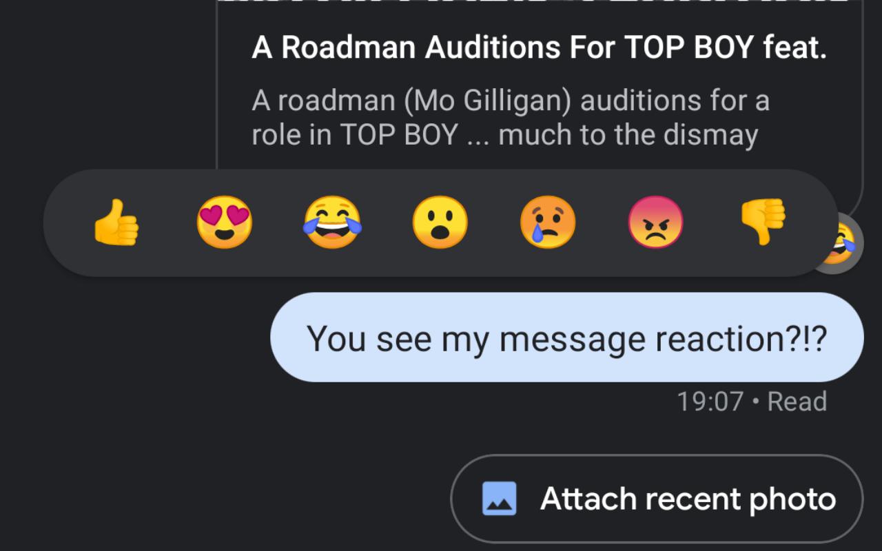Google chỉ truyền phản hồi biểu tượng cảm xúc trong các cuộc trò chuyện RCS 2