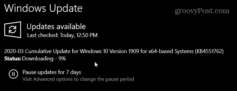 KB4451762 üçün Windows 10 1903 və 1909