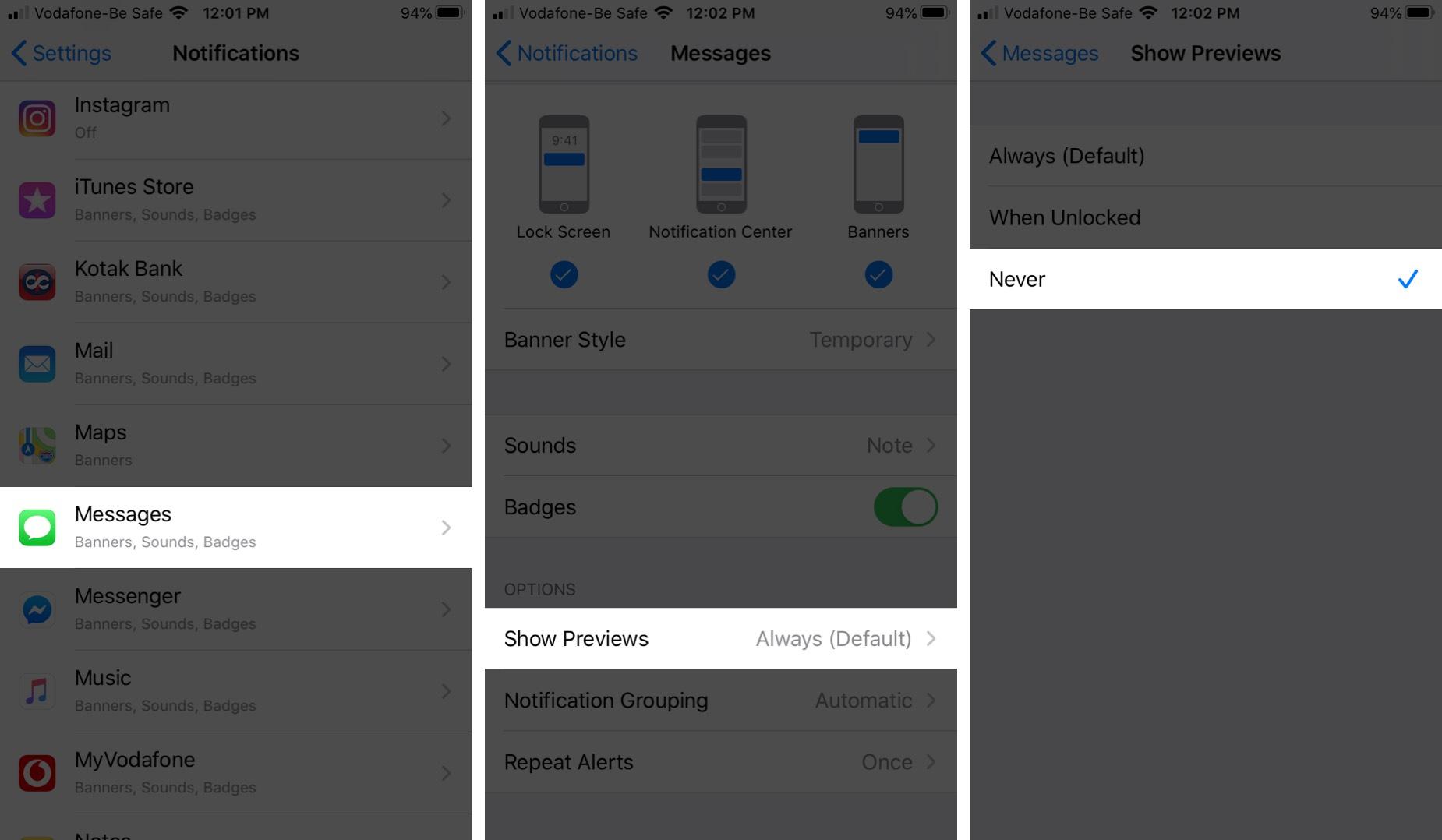 Sammuta viestin esikatselu iPhonen lukitusnäytössä