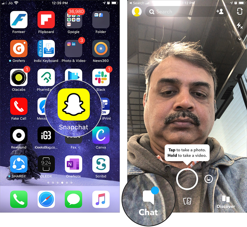 Klepnite na Chat v Snapchat na iPhone