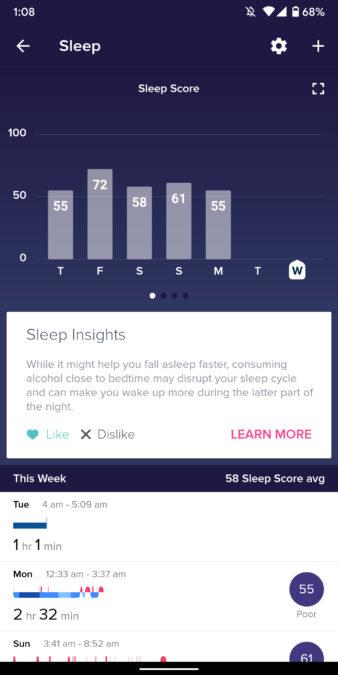 fit versa 2 skontrolujte stav spánku pri sledovaní spánku vo vhodnej aplikácii 2