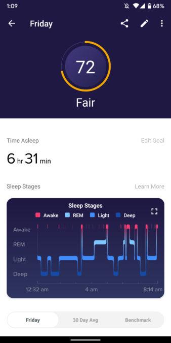 fit versa 2 skontrolujte stav spánku pri sledovaní spánku vo vhodnej aplikácii 3