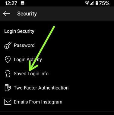 Uložené prihlasovacie informácie Instagram