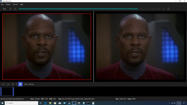 Upscaling Star Trek: Deep Space Deväť pomocou AI Topaz Video Enhance 2
