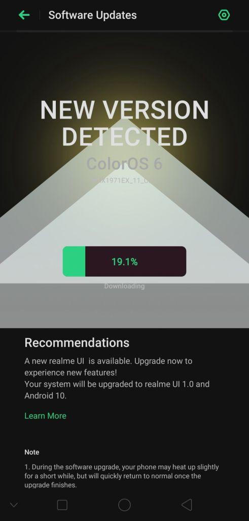 Aktualizácia Android 10 pre Realme 5 OTA