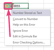 V Excel 30 zadajte nuly pred číslami