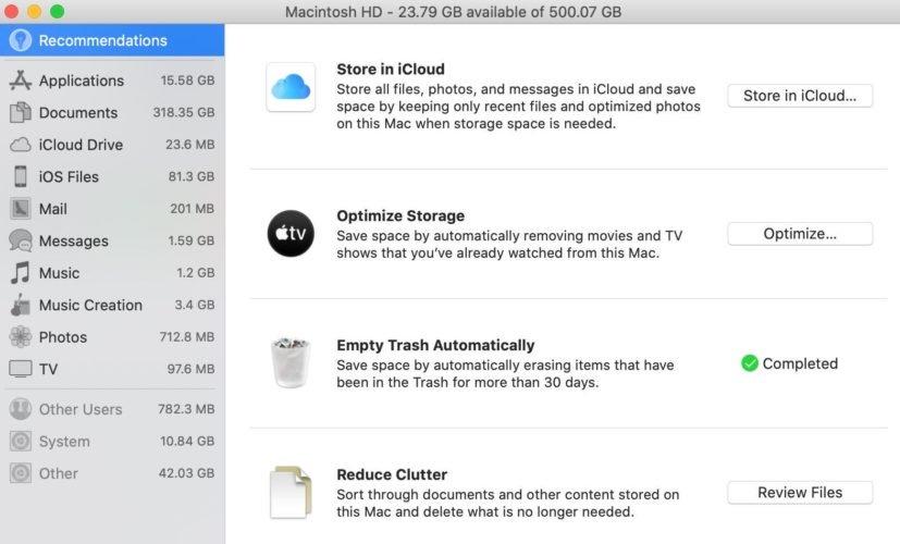 Mac skladovanie odporúčania