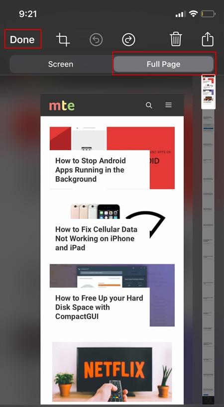 Celá stránka Screenshot Ios Celá stránka
