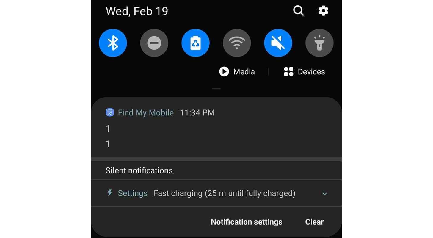 Samsung 1 oznámenie Nájsť môj mobil