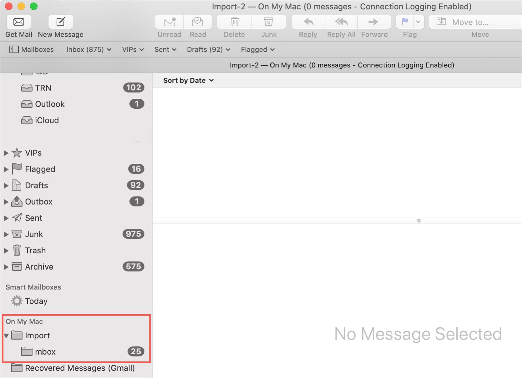 Importovaná pošta Mail Mac