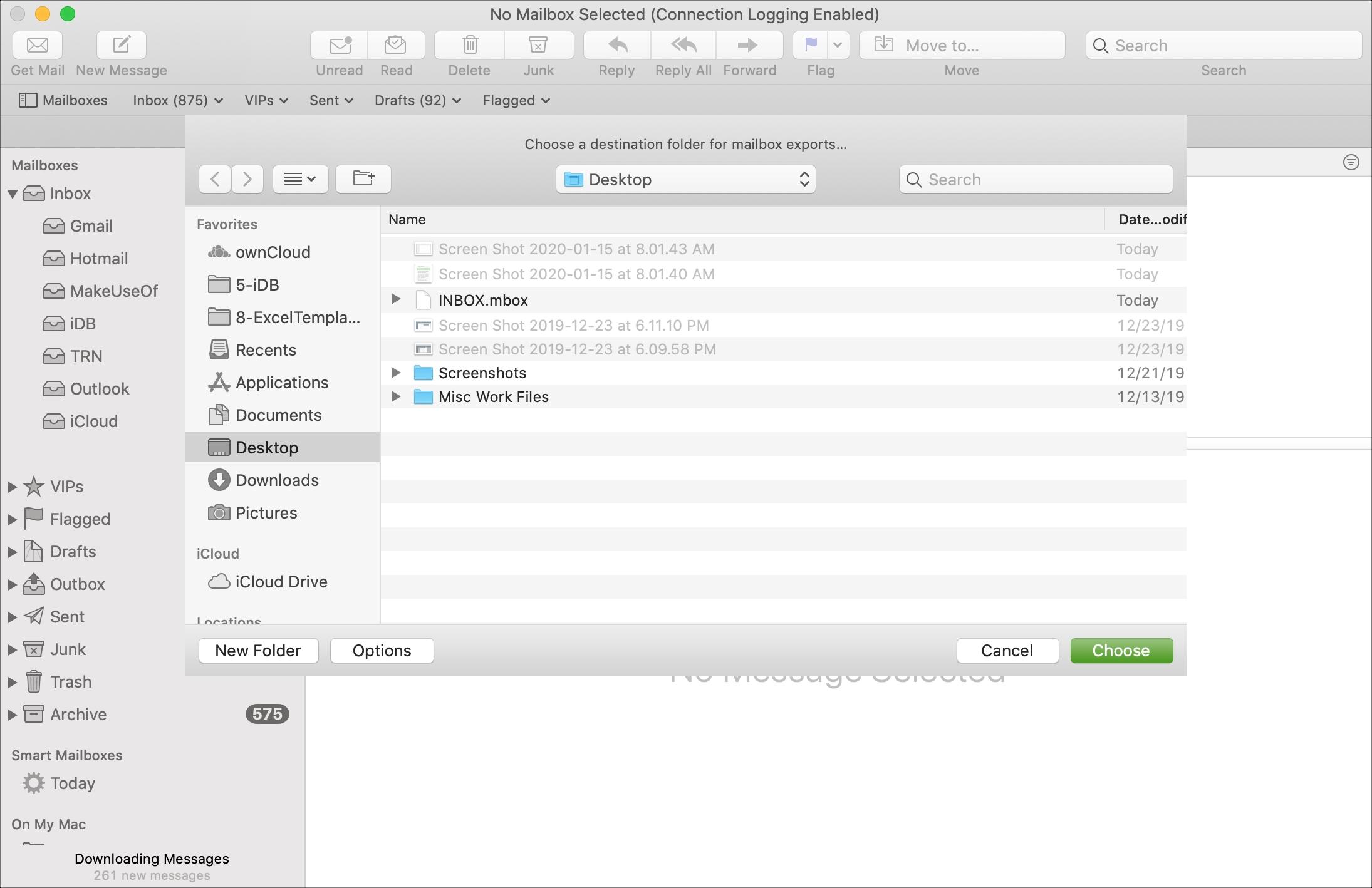 Miesto exportu poštovej schránky Mac