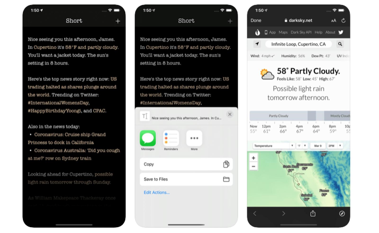 snímky obrazovky krátkej aplikácie
