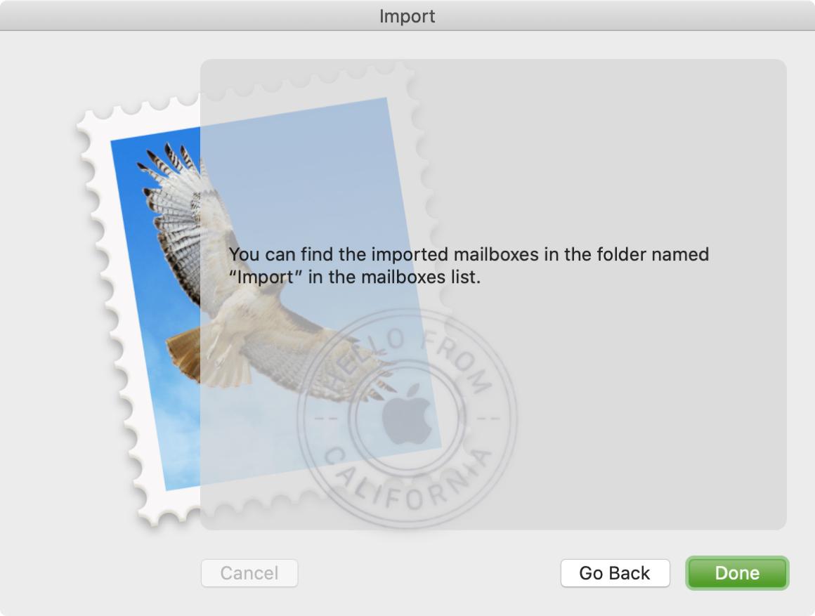 Potvrdiť správu pre import poštovej schránky Mac